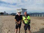 With Spanish pilgrim waiting for ferry to Santona on 13 July