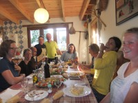 Dinner at albergue at Santa Cruz on 14 July
